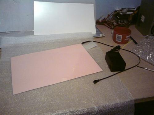 Электролюминесцентный лист с кабелем подключения и инвертором