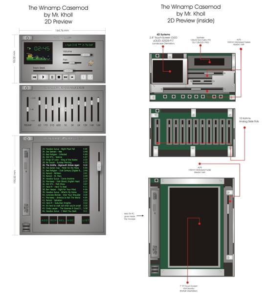 Примерная схема моддинг проекта Winamp Casemod